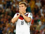 Toni Kroos of Germany reacts during the 2014 FIFA World Cup Brazil Final match between Germany and Argentina at Maracana on July 13, 2014
