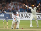 England batsman Ian Bell looks on in disbelief after being bowled by India bowler Ishant Sharma during day four of 2nd Investec Test match between England and India at Lord's Cricket Ground on July 20, 2014