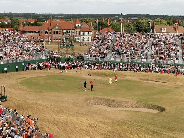 A general shot of the 18th hole at Hoylake Golf Course on July 23, 2006.