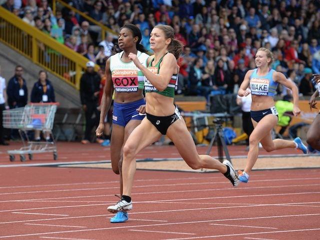 Kelly Massey winning the 400m women's final in Birmingham on June 29, 2014