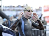 Leanda Cave of Great Britain makes her way to the swim start of Ironman Nice on June 29, 2014