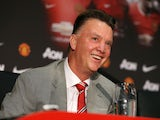 Manchester United's newly-appointed Dutch manager Louis van Gaal addresses a press conference at Old Trafford in Manchester, north-west England, on July 17, 2014