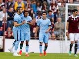 Scott Sinclair and Alvaro Negredo of Manchester City celebrate during the pre-season friendly at Tynecastle Stadium on July 18, 2014