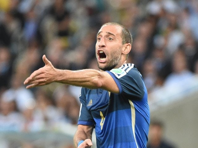 Argentina right-back Pablo Zabaleta in action during the World Cup final on Jul 13, 2014.