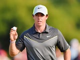 Rory McIlroy of Northern Ireland celebrates a birdie putt on the 17th green during the second round of The 143rd Open Championship at Royal Liverpool on July 18, 2014