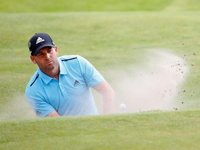 Sergio Garcia of Spain plays his first bunker shot on the 15th hole during the final round of The 143rd Open Championship at Royal Liverpool on July 20, 2014 in Hoylake, England