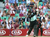 Jason Roy of Surrey is bowled out by Somerset's Dirk Nannes during the Natwest T20 Blast match between Surrey and Somerset at The Kia Oval on July 16, 2014