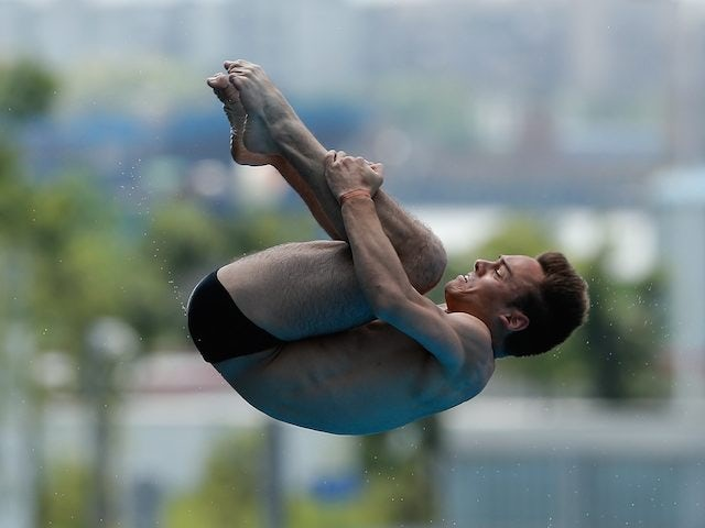 Tom Daley competing in the 10m platform semi-final at the diving World Cup on July 20, 2014