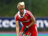 Alex Danson of England controls the ball during the Investec Hockey World League quarterfinal match between England and Italy at the Quintin Hogg Memorial Sports Grounds on June 27, 2013
