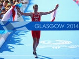 Alistair Brownlee crossing the finish line on July 24, 2014