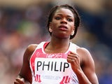 Asha Philip competes during the women's 100m heats at Hampden Park, Glasgow on day four of the 2014 Commonwealth Games on July 27, 2014