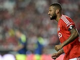 Benfica's forward Bebe reacts after missing a goal oppurtunity during the Eusebio Cup football match between Benfica and Ajax at Luz Stadium in Lisbon, on July 26, 2014