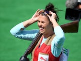 Charlotte Kerwood of England celebrates victory in the Women's Double Trap final at Barry Buddon Shooting Centre during day four of the Glasgow 2014 Commonwealth Games on July 27, 2014