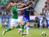Luis Felipe of FC Chelsea in action against Nik Omladic of FC Olimpija Ljubljana during the Pre Season Friendly match between FC Olimpija Ljubljana and FC Chelsea at Stozice stadium in Ljubljana, Slovenia on Sunday, July 27, 2014