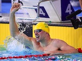 Australia's Daniel Fox celebrates setting a new world record in the men's parasport 200m freestyle B14 heat on July 26, 2014