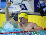 Australia's Daniel Fox celebrates setting a new world record in the men's parasport 200m freestyle B14 heat on July 26, 2014