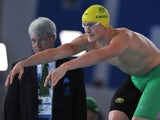 Australia's David McKeon competes in the Men's 4 x 200m Freestyle Relay Final at the Tollcross International Swimming Centre during the 2014 Commonwealth Games in Glasgow on July 27, 2014
