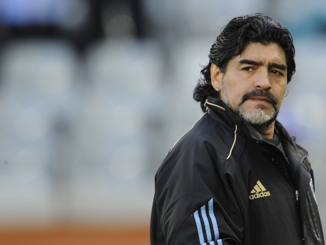 Argentina's coach Diego Maradona looks on prior to the 2010 World Cup quarter final Argentina vs Germany on July 3, 2010