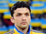 Ukraine's midfielder Edmar Halovskiy listens to the national anthems before the start of a World Cup 2014 play-off first-leg football match between Ukraine and France in Kiev on November 15, 2013