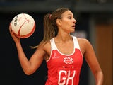 Geva Mentor of England looks for a pass during the ZEO International Netball Tri Series match between England and Jamaica at Wembley Arena on January 18, 2014