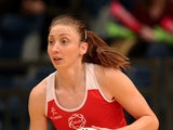 Jade Clarke of England looks to attack during the ZEO International Netball Tri Series match between England and Jamaica at Wembley Arena on January 18, 2014