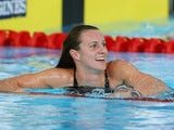 Wales's Jazz Carlin moments after setting a new Games record in the 800m freestyle on July 27, 2014