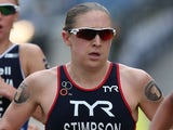 Jodie Stimpson of Great Britain in action during the run leg of the Elite Women's PruHealth World Triathlon Grand Final on May 31, 2014