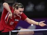 British player Kelly Sibley serves to Zulfiniso Saidalimova of Tajikistan, on May 14, 2013