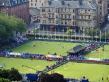 Bowlers compete in the morning session at Kelvingrove Lawn Bowls Centre during day one of the Glasgow 2014 Commonwealth Games on July 24, 2014