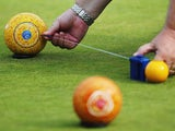 Detail of bowls and the jack are seen at Kelvingrove Lawn Bowls Centre during day three of the Glasgow 2014 Commonwealth Games on July 26, 2014