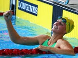 Leiston Pickett of Australia celebrates winning the gold medal in the Women's 50m Breaststroke Final on July 25, 2014
