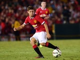 Manchester United's Ander Herrera passes against the LA Galaxy during their Chevrolet Cup match at the Rose Bowl in Pasadena, California on July 23, 2014