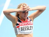 Meghan Beesley of Great Britain looks on after compete in the Women's 400 metres hurdles heats during Day Three of the 14th IAAF World Athletics Championships Moscow on August 12, 2013