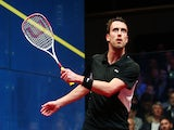Peter Barker of England in action against James Willstrop of England during the semi-finals of the Canary Wharf Squash Classic on March 27, 2014