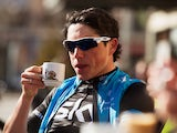 Peter Kennaugh of Team SKY looks on during a cafe stop on February 4, 2014