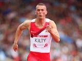England's Richard Kilty during the men's 100m heats on July 27, 2014