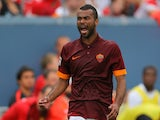 Ashley Cole #3 of AS Roma reacts during the second half of an International Champions Cup match against Manchester United at Sports Authority Field at Mile High on July 26, 2014