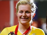 Australia's Stephanie Morton posing with her silver medal on July 24, 2014