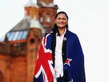 New Zealand flag bearer Valerie Adams poses for a photo following the New Zealand team function at Kelvingrove Art Gallery on July 22, 2014