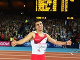 Thumbs up from Adam Gemili as he finishes second in the men's 100m on July 28, 2014
