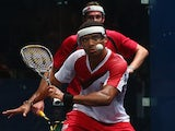 Adrian Grant of England plays a shot during the quarterfinals doubles match against Peter Creed and David Evans of Wales at Scotstoun Sports Campus during day nine of the Glasgow 2014 Commonwealth Games on August 1, 2014