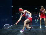 Alison Waters of England plays a forehand during the Women's Singles semi-final match between Alison Waters of England and Laura Massaro of England at Scotstoun Sports Campus during day four of the Glasgow 2014 Commonwealth Games on July 27, 2014