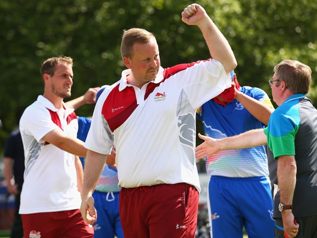 Andrew Knapper and Sam Tolchard of England celebrate victory after the Men's Pairs Bronze Final at Kelvingrove Lawn Bowls Centre during day five of the Glasgow 2014 Commonwealth Games on July 28, 2014