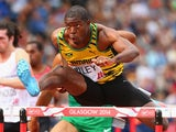 Andrew Riley of Jamaica competes in Men's 110 metres hurdles Round 1 at Hampden Park during day six of the Glasgow 2014 Commonwealth Games on July 29, 2014