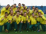 The Australia team celebrate with their Gold Medals after winning the Men's Gold Medal Match Final between India and Australia at Glasgow National Hockey Centre during day eleven of the Glasgow 2014 Commonwealth Games on August 3, 2014