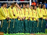 Australia players receive their medals after winning the bronze medal match in the rugby sevens at Ibrox Stadium during day four of the Glasgow 2014 Commonwealth Games on July 27, 2014