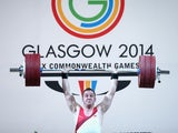 Ben Watson of England lifts during the Men's Weighlifting 75kg Group A Final at Scottish Exhibition And Conference Centre during day seven of the Glasgow 2014 Commonwealth Games on July 30, 2014