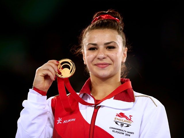 Gold medalist Claudia Fragapane of England poses during the medal ceremony for the Women's Floor Final at SSE Hydro during day nine of the Glasgow 2014 Commonwealth Games on August 1, 2014