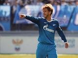 Cristian Ansaldi of FC Zenit St. Petersburg gestures during the Russian Football League Championship match between FC Zenit St. Petersburg and FC Volga Nizhny Novgorod at the Petrovsky stadium on April 26, 2014
