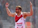 Dan Greaves of England celebrates as he competes in the Men's F42/44 Discus final at Hampden Park Stadium during day five of the Glasgow 2014 Commonwealth Games on July 28, 2014